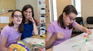 Emma: Left, Emma smiles with Dr. Gillick, Right, Emma participating in a coloring activity in the lab.